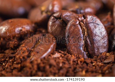 background from the fried coffee beans  macro - stock photo