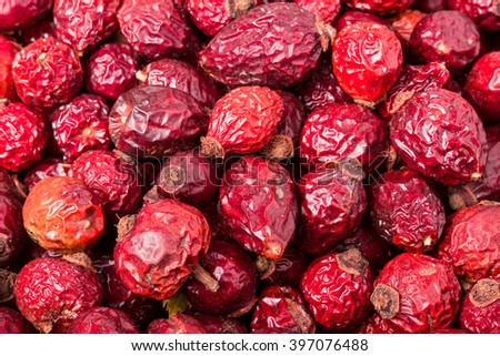 Background from the good dryed rosehip berries - stock photo