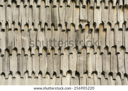 Background From The Wooden Roof Tiles - stock photo