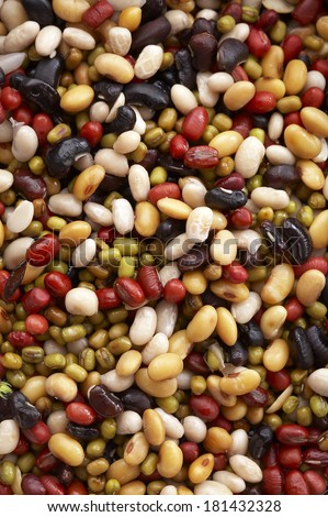 background from various beans - stock photo