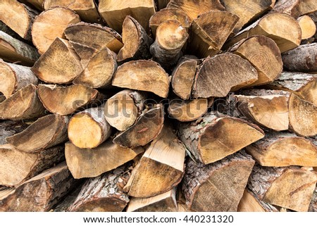 Background from wooden logs - stock photo