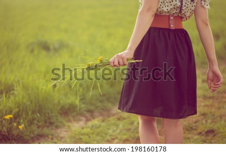 Background girl walking in a field in a dress and hold dandelions in her hand - stock photo