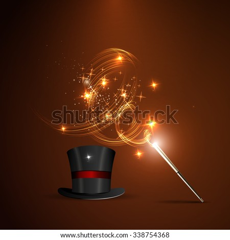 Background glowing wand and magical hat - stock photo
