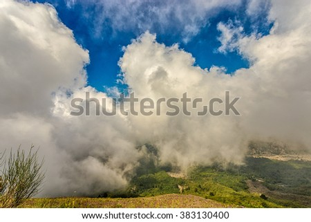 Background gray clouds. View from the volcano Mount Vesuvius in Italy.