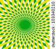 Background. Green and yellow twisted radial rays - stock photo
