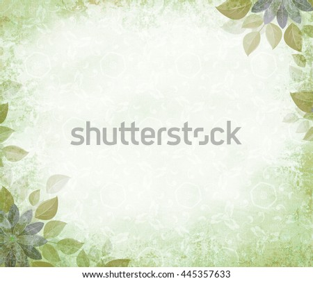 Background grunge with flower corners, olive. The basis for design or the text on a rough cloth, in ancient style.