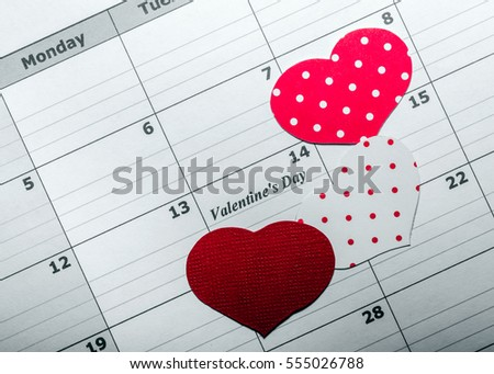 Background. Happy Valentine's Day. Hearts. Love. Calendar.