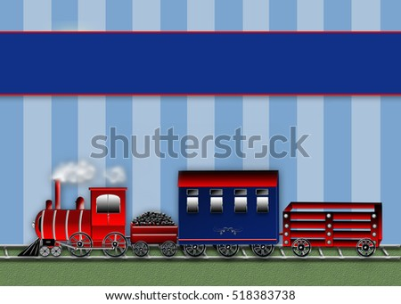 Background illustration 3-D train with locomotive in front, coal car, passenger and wagon filled with balloons.  Graphic Illustration.  Banner above for text availability.