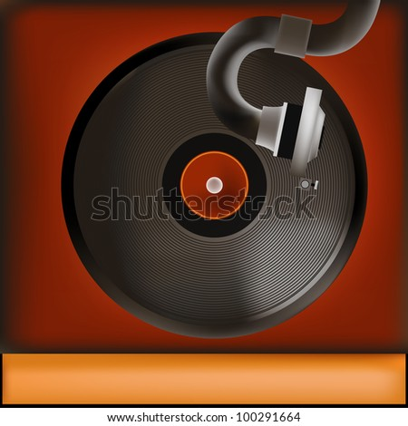 Background illustration of a vintage gramophone and record
