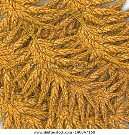 Background illustration of ears of wheat. - stock photo