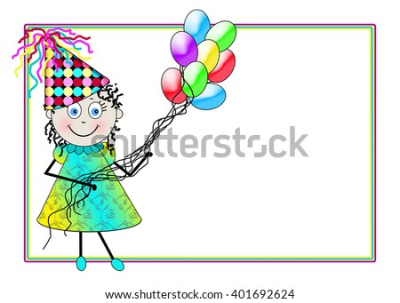 Background illustration of young female character Dori dressed up in party attire holding balloons of assorted colors.  Thin border in matching colors.