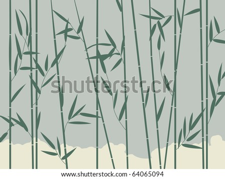 Background illustration with stylized bamboo leaves