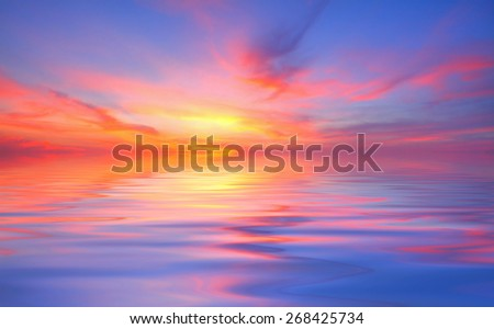 Background image from colorful sky and beautiful water reflection - stock photo