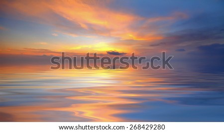 Background image from colorful sky and beautiful water reflection