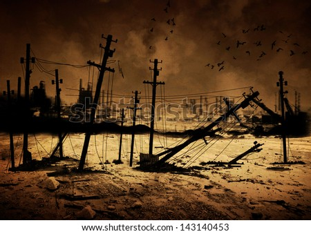Background image of a destroyed city