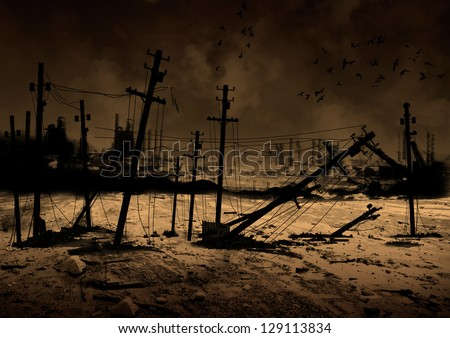 Background image of a ruined city - stock photo