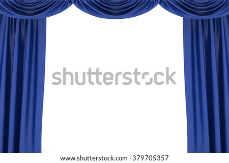 Background image of blue silk stage curtain on theater