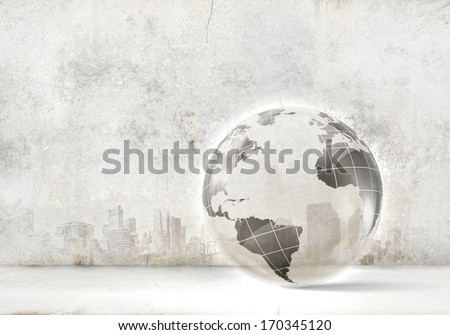 Background image of digital Earth planet against white backdrop - stock photo