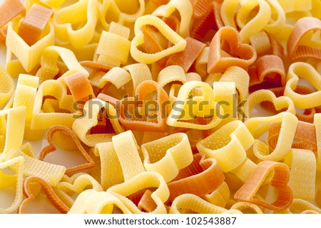 background image of heart pasta