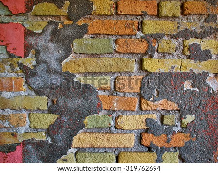 Background image of old broken vintage brick wall stucco - stock photo