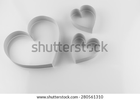 background image of paper craft's heart isolated on white background - stock photo