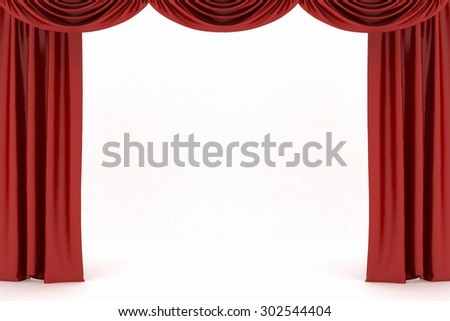 Background image of red silk stage curtain on theater