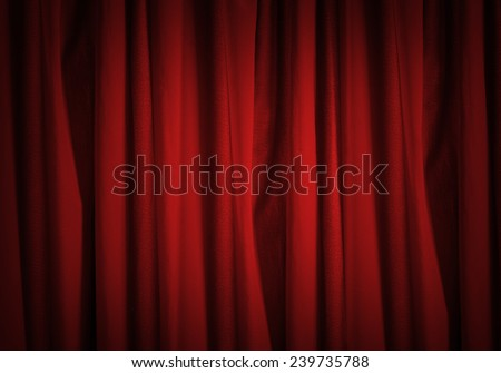 Background image of red velvet stage curtain - stock photo