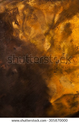 Background image of scratched antique copper vessel surface texture. - stock photo