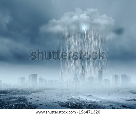 Background image of stone wall with rain and clouds - stock photo