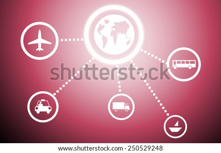 Background image with application icons on color background - stock photo