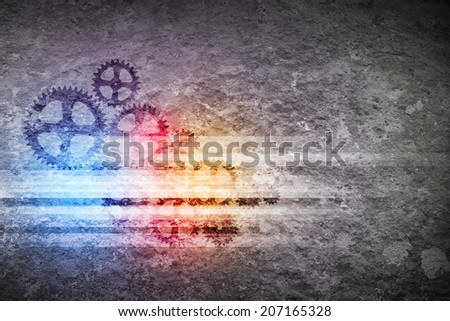 Background image with cogwheels on cement wall - stock photo