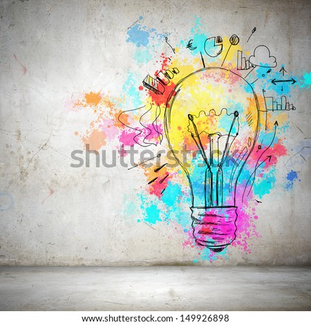 Background image with colorful splashes and drops - stock photo