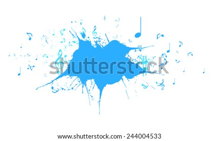 Background image with colorful splashes and music signs