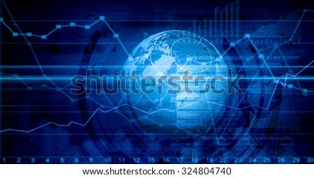 Background image with diagrams and graphs on media screen