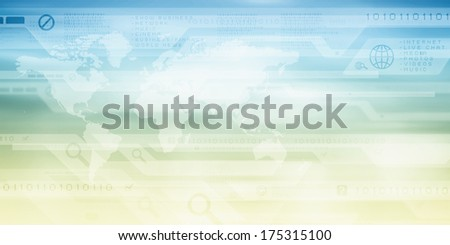 Background image with digital screen and icons