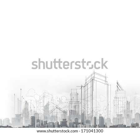 Background image with drawings of modern city - stock photo
