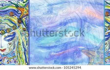 background image with face of mermaid and plenty of space for text - stock photo