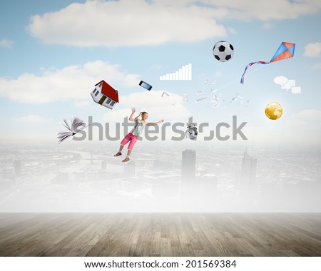 Background image with flying kid and items - stock photo