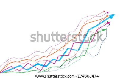Background image with increasing graph. Marketing strategy - stock photo