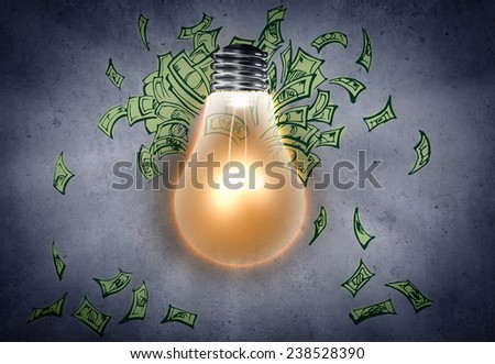Background image with light bulb and money banknotes - stock photo