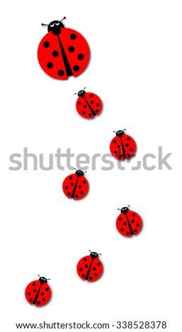 Background image with many different sized ladybugs on white background. - stock photo