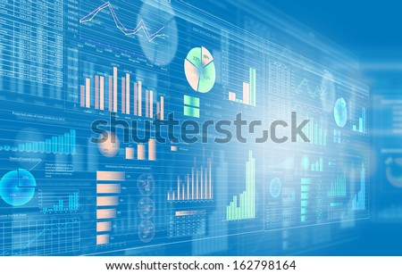 Background image with media screen. Diagrams and graphs - stock photo