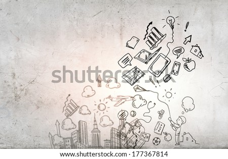 Background image with sketches of business concepts - stock photo