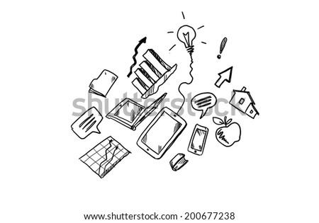 Background image with sketches of business concepts