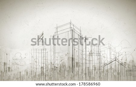 Background image with urban construction sketch on white background - stock photo