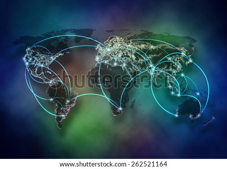 Background image with world map and connection lines