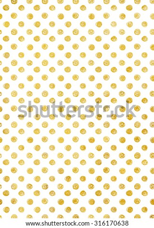 Background in gold polka dot, irregular hand-drawn holiday texture