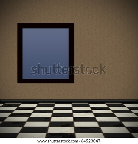 Background in perspective with brown wallpaper and checkered tile floor