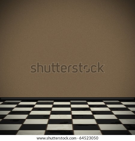 Background in perspective with brown wallpaper and checkered tile floor - stock photo