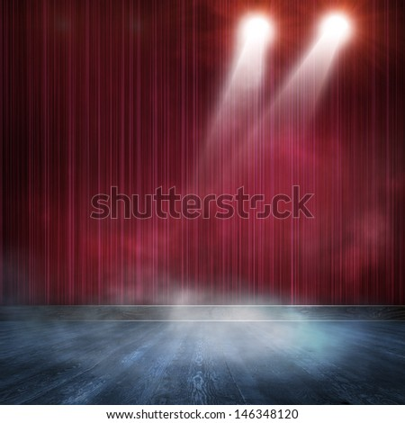 Background in show. Interior shined with a projector - stock photo